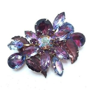 Judy Lee Purple Rhinestone Brooch  Vintage 60's